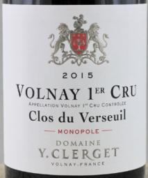 Domaine Yvon Clerget Volnay 1er Cru Clos du Verseuil Monopole 2016 Cote de Beaune
