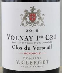 Domaine Yvon Clerget Volnay 1er Cru Clos du Verseuil Monopole 2017 Cote de Beaune