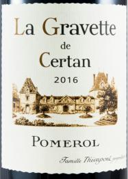La Gravette de Certan 2000 Pomerol