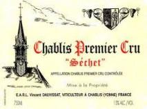 """Domaine Rene et Vincent Dauvissat, Chablis 1er Cru """"Sechet"""" 2016 Chablis"""
